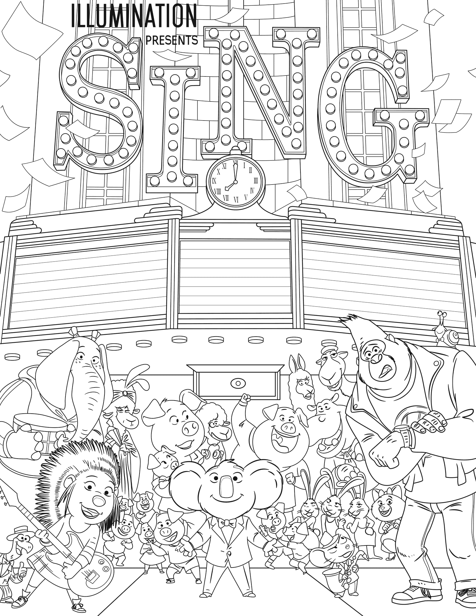 Sing Coloring Pages Sing Movie Coloring Pages For Kids Coloring Pages To Print