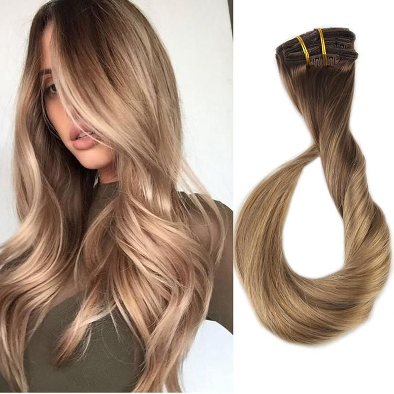 Clip in Extensions 100 Remy Human Hair 10 Pieces Balayage