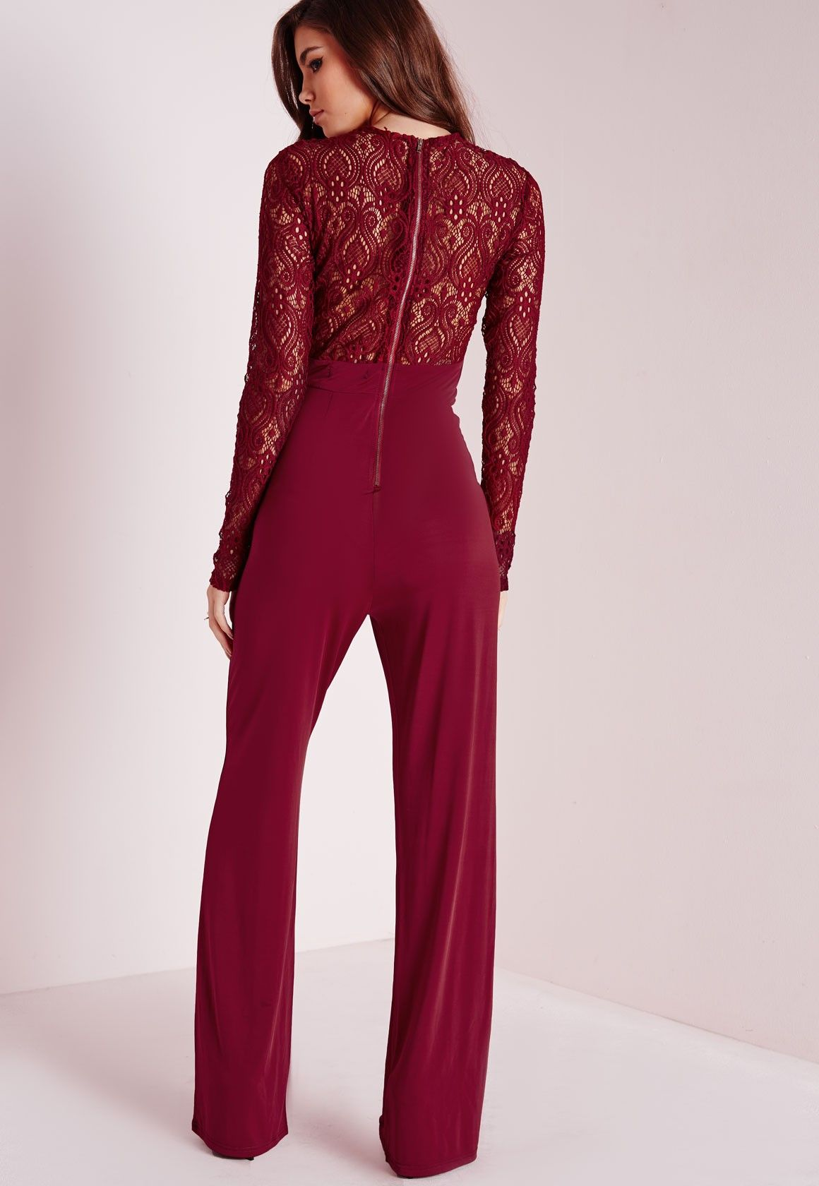 d64505a93a1 Missguided - Lace Slinky Jumpsuit Burgundy