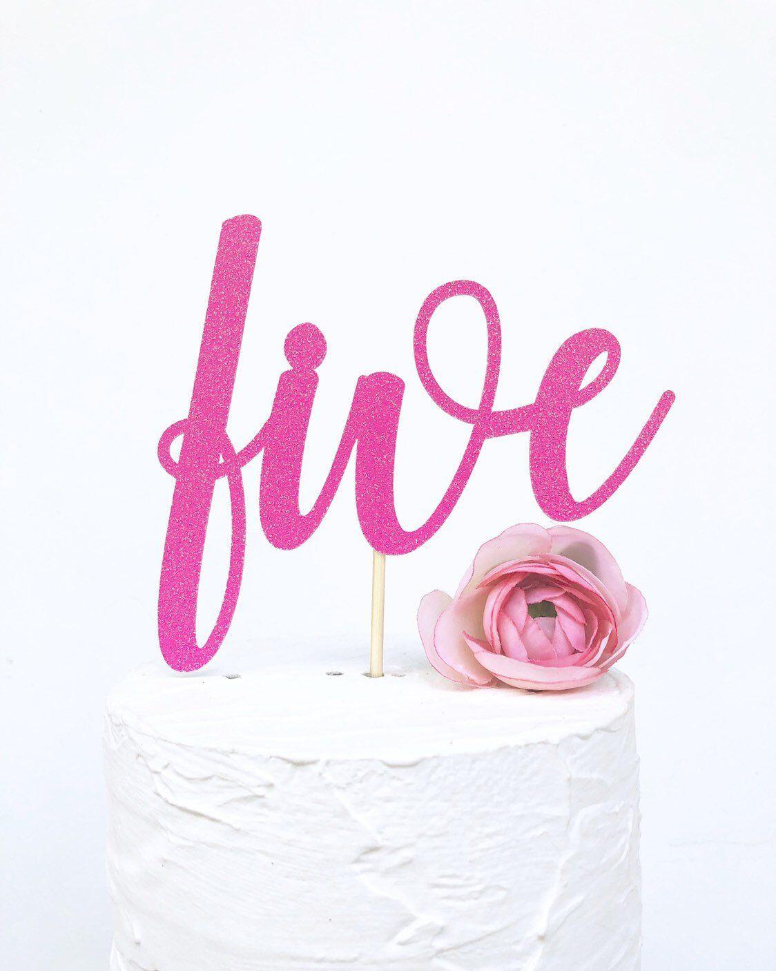 Five Cake Topper 5th Birthday 5 Glitter Fifth Happy