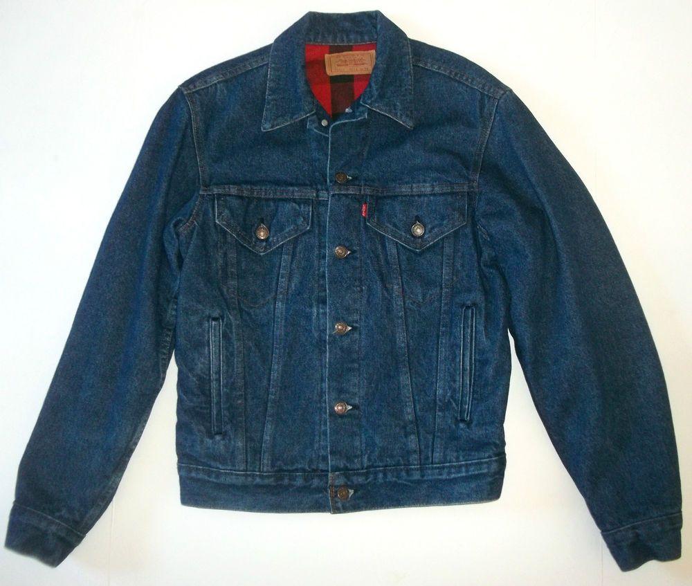 Levis Vintage Blue Jean Denim Jacket Red Plaid Flannel Lined Trucker