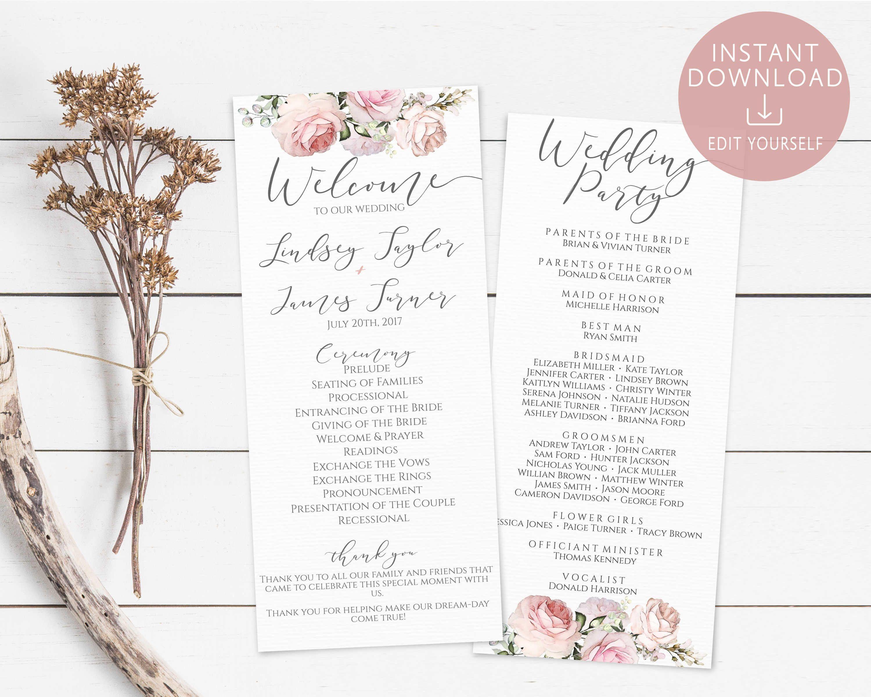 wedding program printable template order of service editable