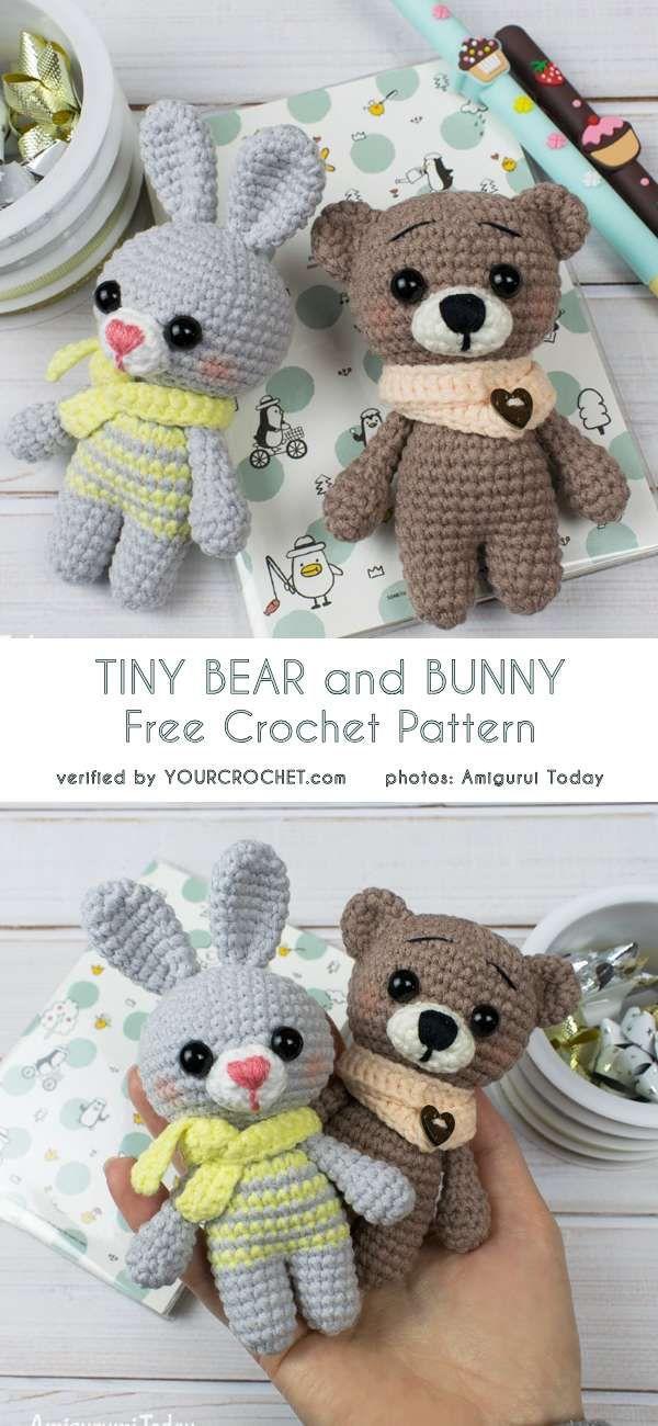 Tiny Bear and Bunny Amigurumi Free Crochet Pattern