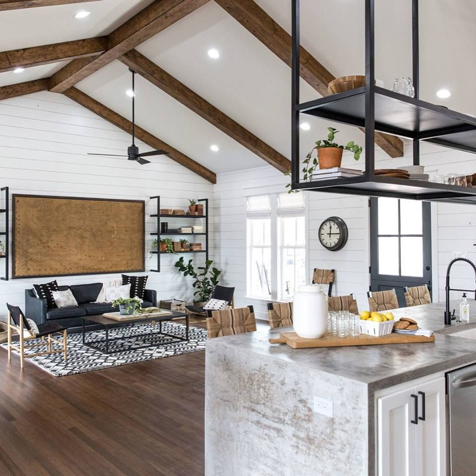 kitchen opens into living room | Fixer upper kitchen ...