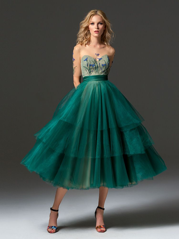 22c4e3e5c5f3b ... sleeve cocktail dress features an illusion sweetheart neckline, 3-D  flower decor, and tiered tulle tea-length skirt, available in scarlet, dark  blue, ...