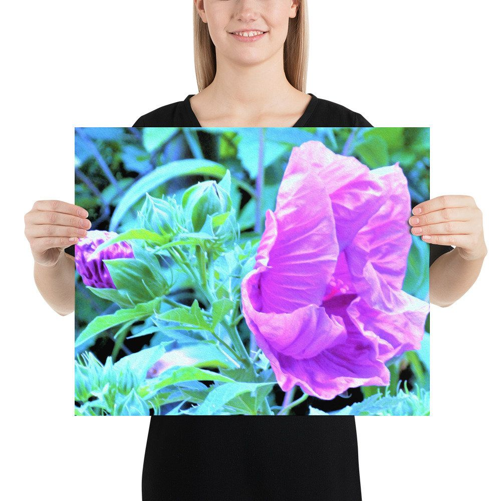 Poster Wall Art, Shy Pink and Purple Hibiscus Flower with Aqua Blue Foliage, Decorative Poster Print, Home and Office Décor, Dorm Room Decor #purpledormrooms