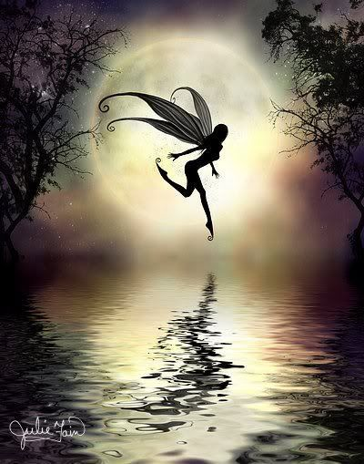 Fairy skipping on water