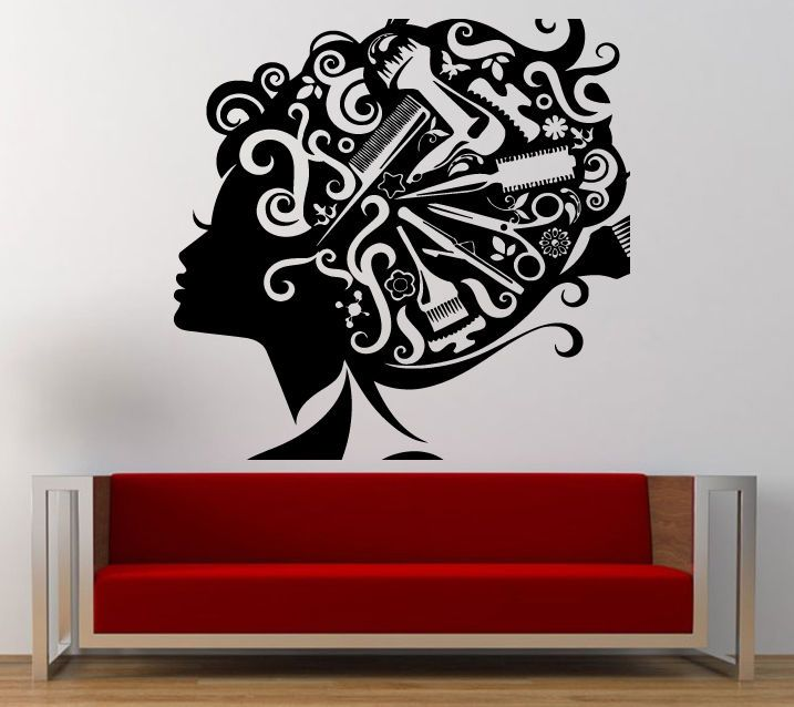 Wall Room Decal Vinyl Sticker Hair Salon Girl Barber Tools Inside Big Large L243 #3M #VinylPrintArtDecalSticker