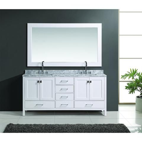 Design Element 72 London Hyde Double Sink Vanity Set In White Or
