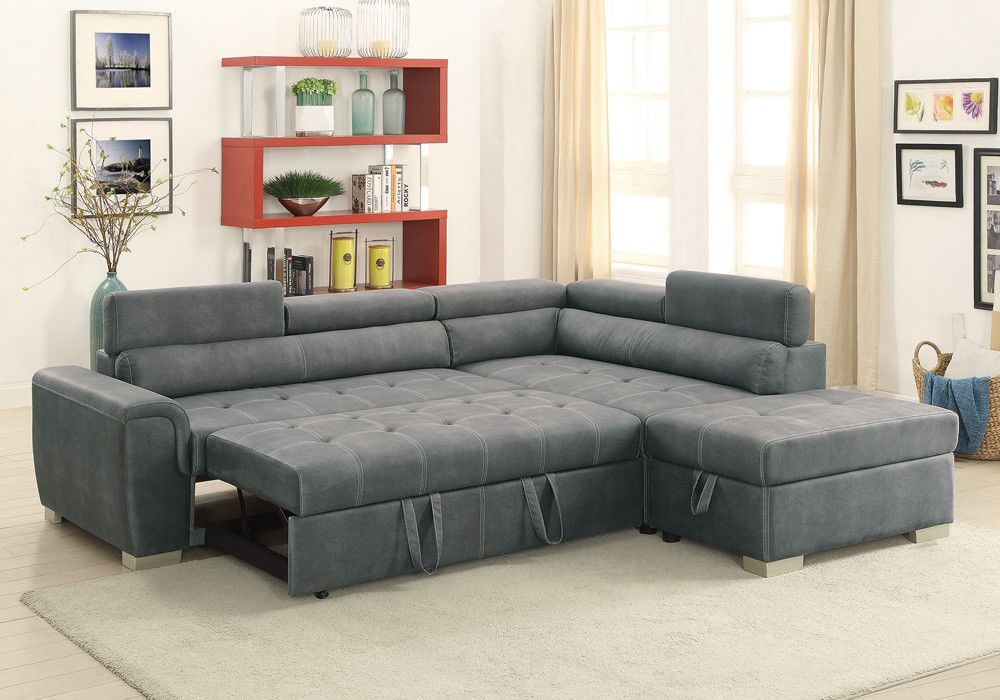 Convertible Sectional Sofa Couch Storage Ottoman Pull Out Bed Grey Leatherette Fabric Sectional Sofas Sectional Sofa Couch Sectional Sofa