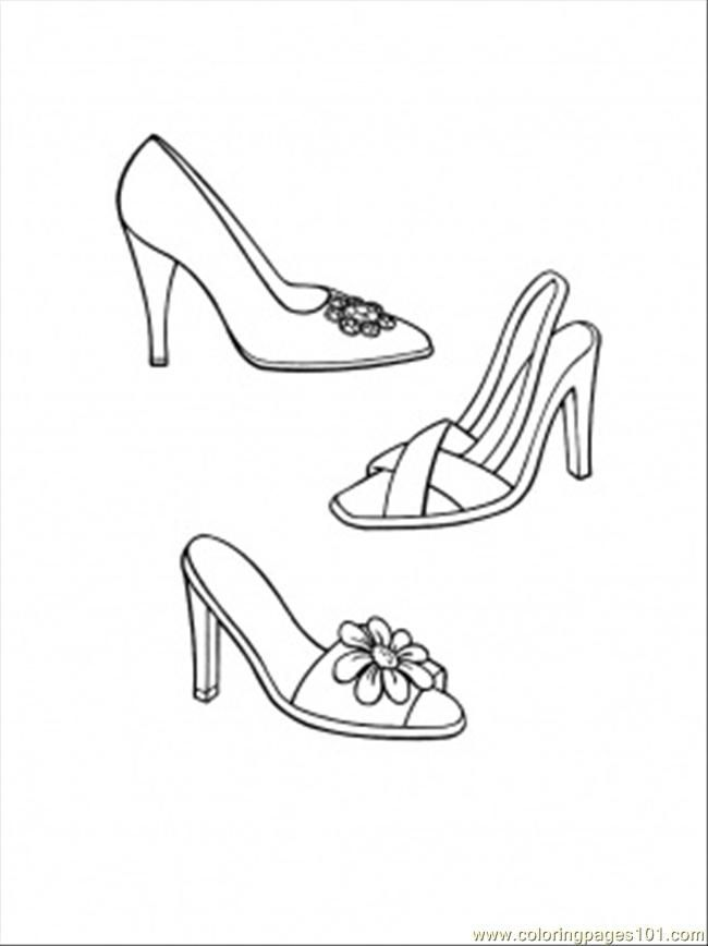 Evening Shoes Coloring Pages Fashion Sketch Template Color