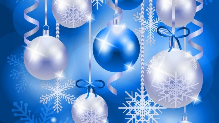 Wallpaper Blue And White Christmas Balls Bright , Wallpapers