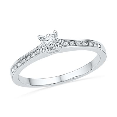 Zales 1/10 CT. T.w. Quad Diamond Bypass Promise Ring in 10K White Gold vLBSjh