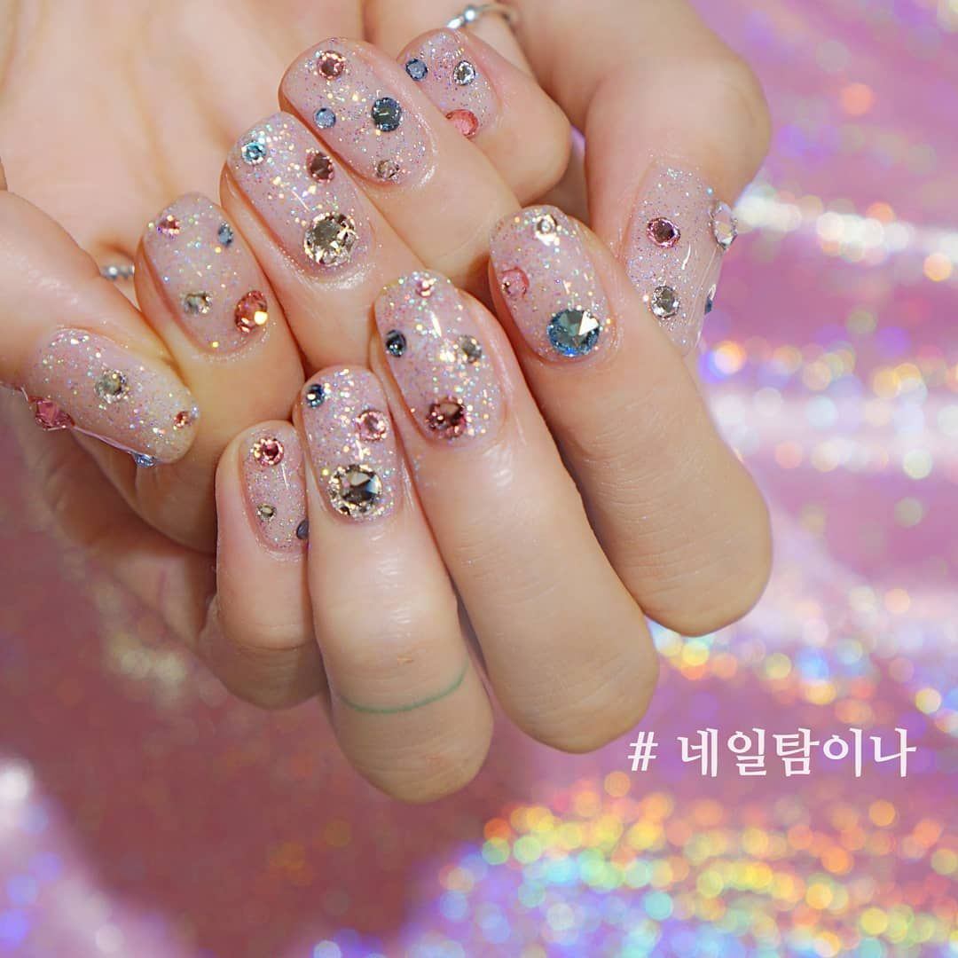 20 Trendy Korean Summer Crystal Nails Art Designs Crystal