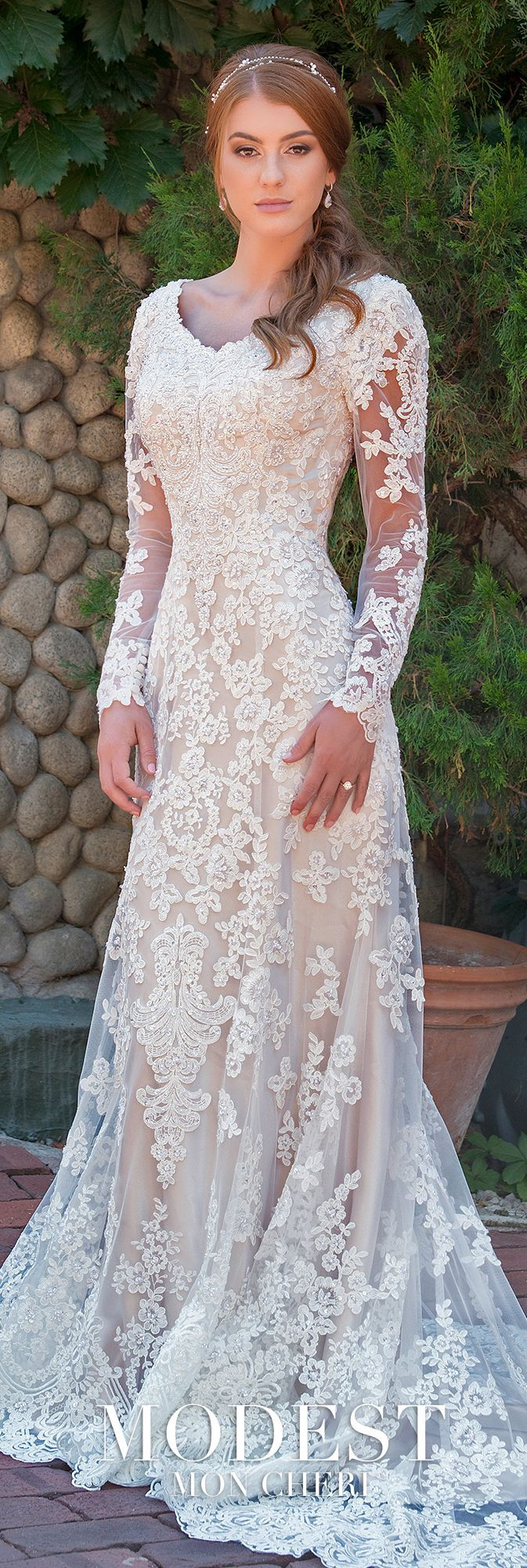 Modest wedding dresses tr tulle and beaded lace fit and flare