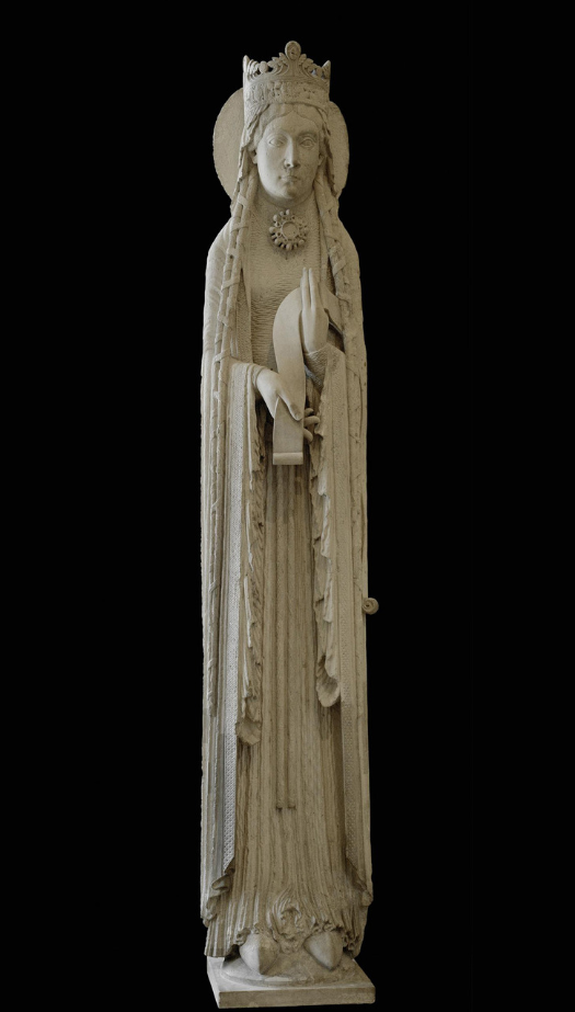 A Queen (possibly the Queen of Sheba), from the east facade of Notre Dame de Corbell, Essonne, France  --  Last Quarter, 12th Century