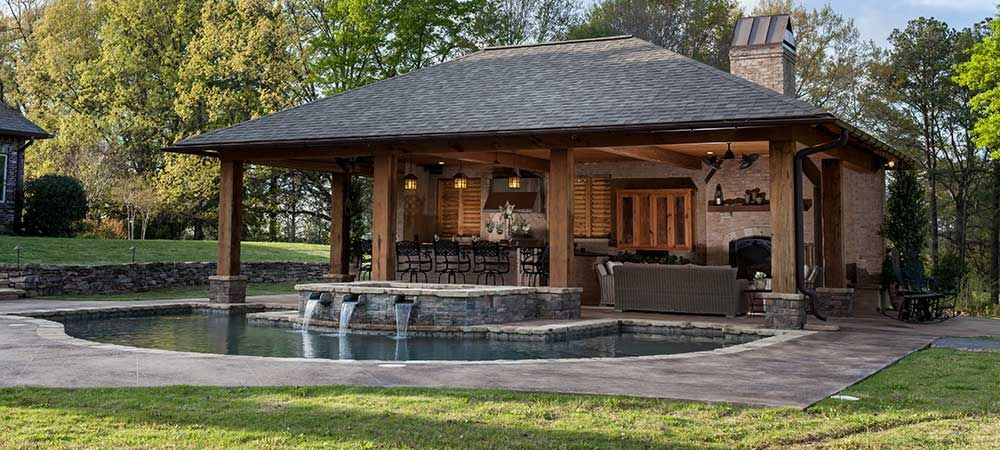 backyard living areas with pools outdoor living spaces. Black Bedroom Furniture Sets. Home Design Ideas