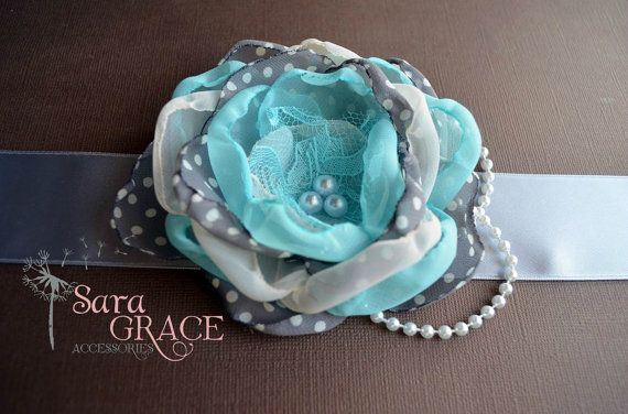 Polka Dot Maternity Sash - Its a Boy (teal, grey, polka dot, chiffon, pearls, satin)