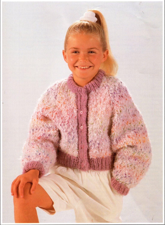 "girls mohair jacket knitting pattern pdf download childrens mohair cardigan bomber 24-32"" chunky bulky 12 ply childrens knitting pattern pdf by Minihobo on Etsy"