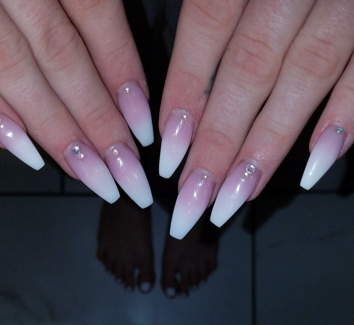Pink To White Powder Ombre Coffin Nails Nails Pink Nails Ombre Nails