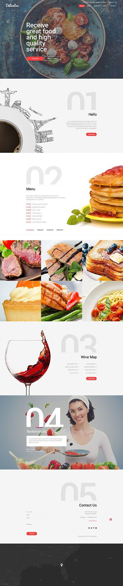 Template 57803 - Delicatos Restaurant  Responsive Website Template