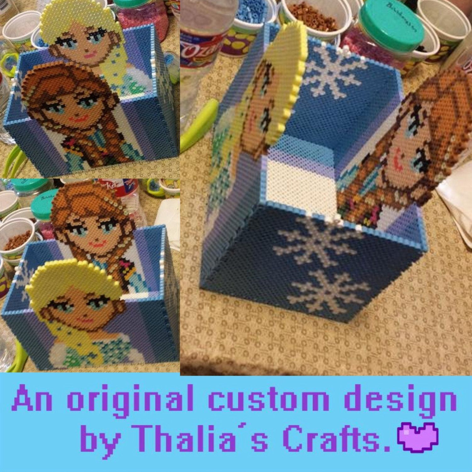 Frozen Themed Center Piece Boxes perler beads by ThaliasCrafts