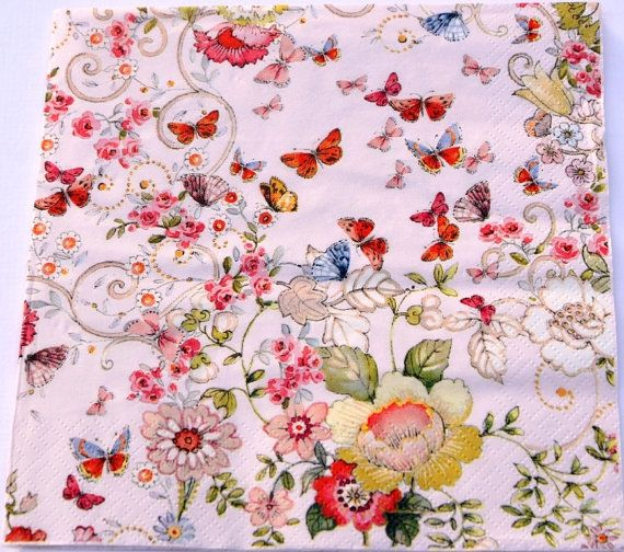 Bird flower paper napkins tiny flowers printed paper napkins pink 2 little birds and flowers paper napkins tiny flowers by ywart mightylinksfo