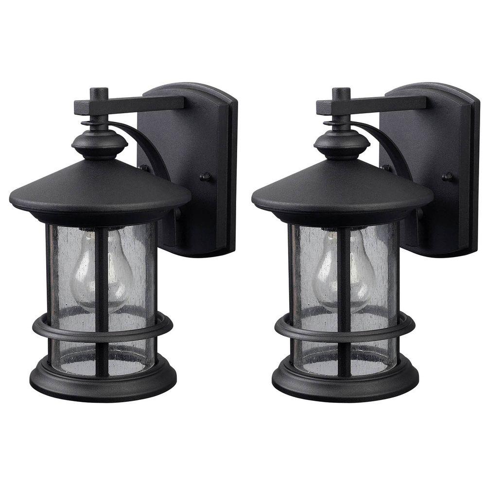 Canarm Ryder 1 Light Black Outdoor Wall Lantern Sconce With Seeded Glass 2 Pack Iol141tbk Hd The Home Depot Outdoor Wall Lantern Outdoor Light Fixtures Wall Lantern