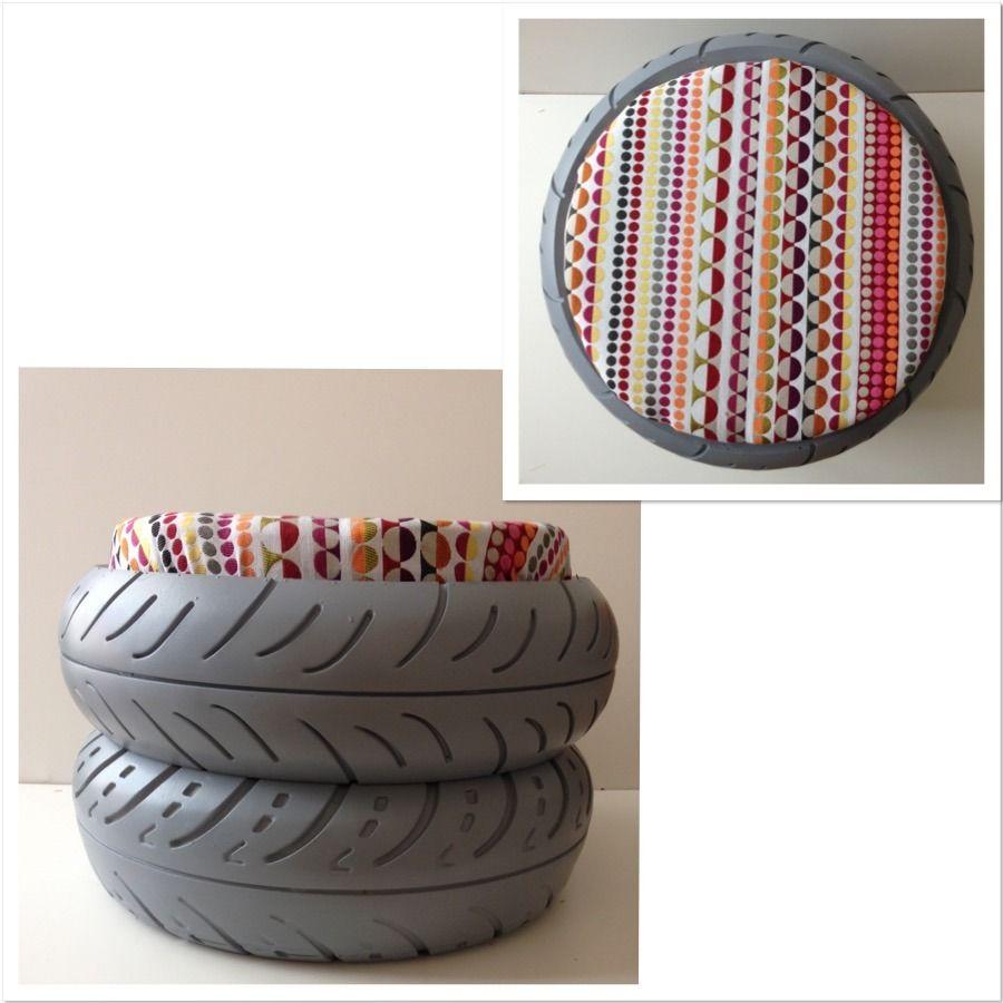 pouf en pneu recycl le mini double chambre de b b tire ottoman upcycled furniture et ottoman. Black Bedroom Furniture Sets. Home Design Ideas