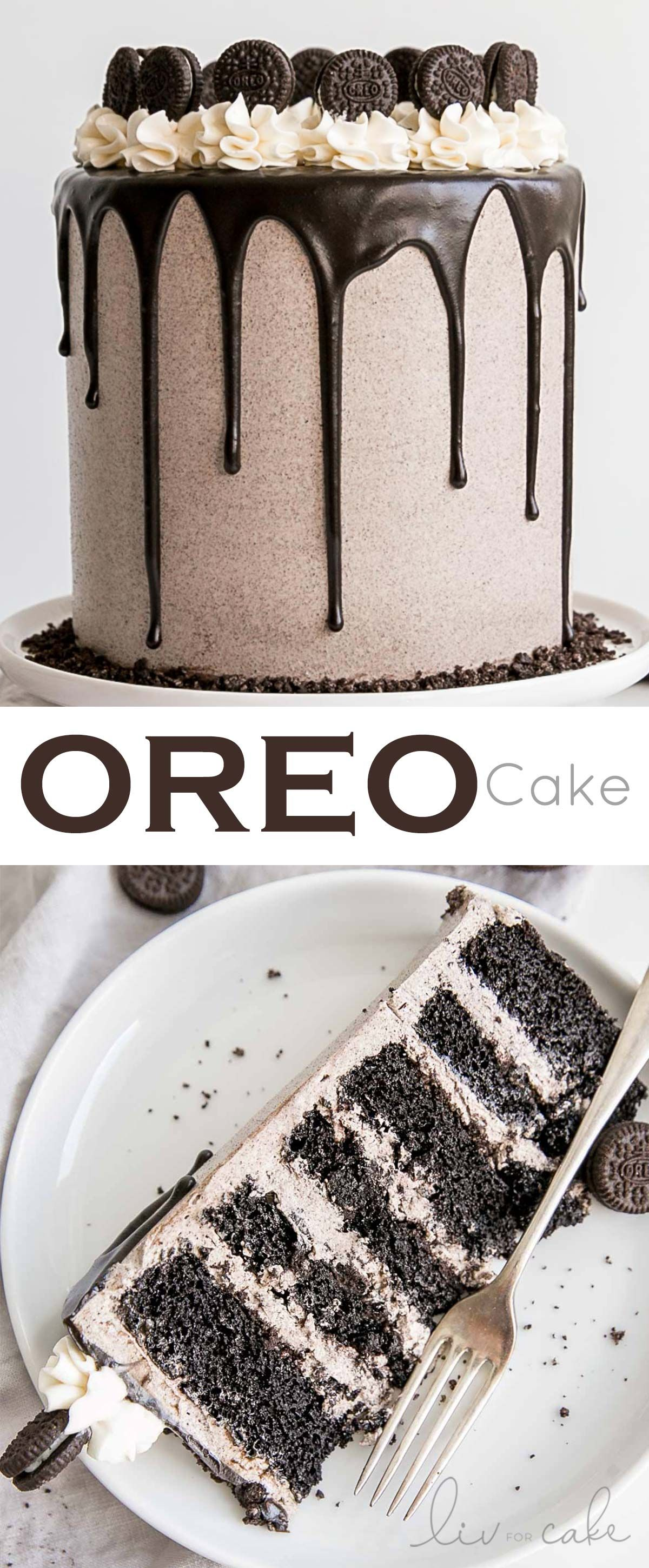 Oreo Cake! Six decadent layers of Oreo cake, Oreo buttercream, and a dark chocolate ganache. Perfect for the cookies and cream lover in your life! #cookiesandcreamfrosting