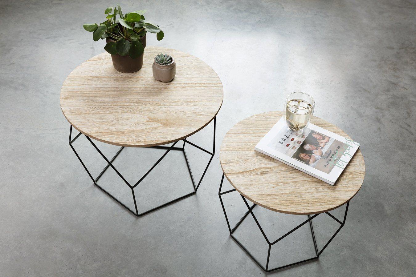 Lifa Living Beistelltisch Schwarzes Metall Holzplatte Runder