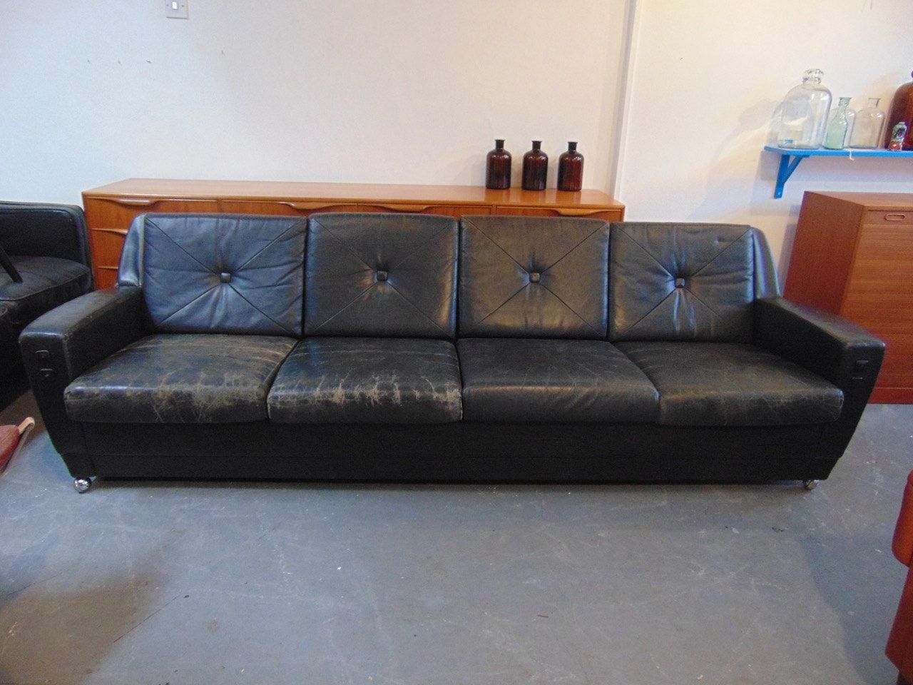 Vintage 1960u0027s Black Leather Four Seater Sofa. Mid Century Retro Danish  Scandinavian Large Low Rise