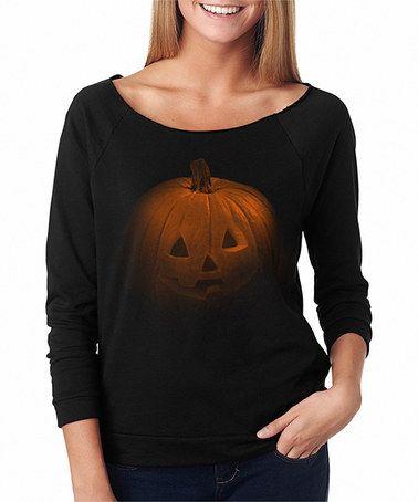 Another great find on #zulily! Black & Orange Creepy Pumpkin Raglan-Sleeve Tee - Women #zulilyfinds
