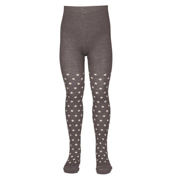 Wool/Cotton Blend Tights: Polka Dot Grey