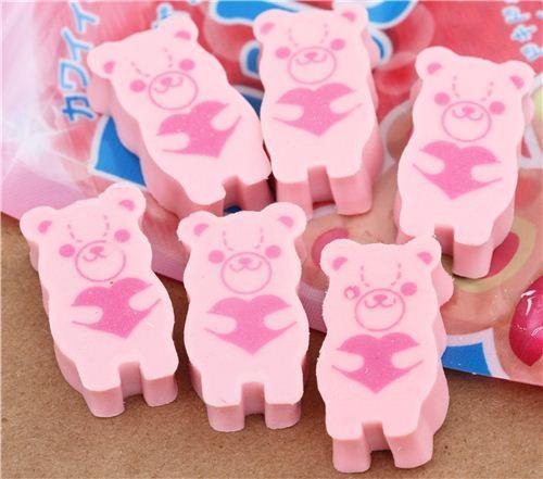 cute eraser set from Japan peach candy teddy bear bag 2