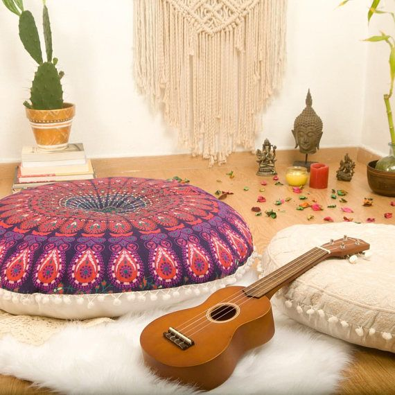 Pouf Ottoman Mandala Meditation Cushion Floor Pillow Floor ...