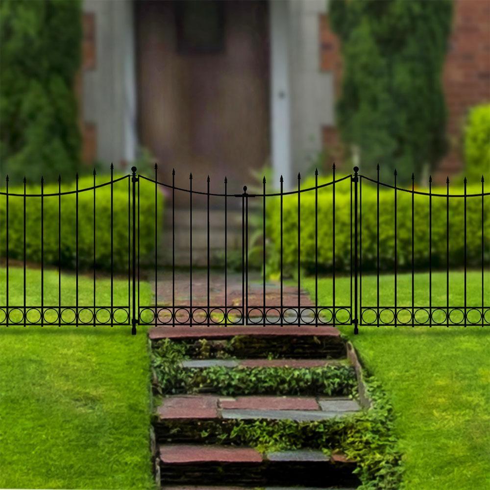 Hampton Bay Beaumont 3 75 Ft X 3 33 Ft Black Steel Decorative Fence Gate 860169 The Home Depot Fence Gate Garden Gate Design Garden Gates