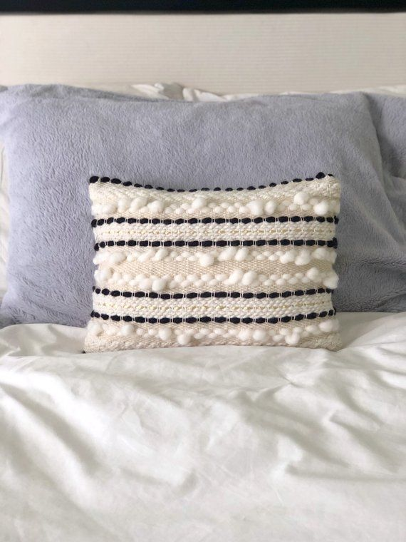 Ivory And Black Woven Pillow 10x14 Decorative Pillow Modern Pillow Minimalist Home Minimalist Home Decor Minimalist Bedroom Color Minimalist Bedroom Design