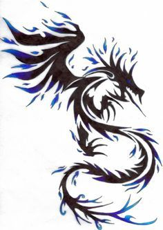 Tribal Dragon Tattoo Design With Blue Color Tribal Dragon Tattoo Tribal Tattoos Tribal Dragon Tattoos