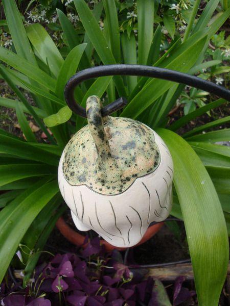 klingende GlockenBlume 12cm Garten Keramik weiß Garten and Pottery - kugeln fur garten
