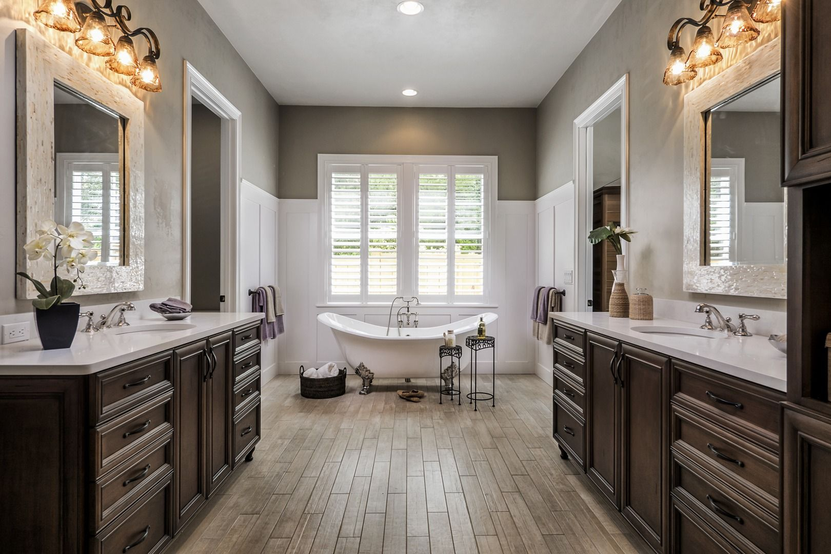 brown neutral wood cabinets traditional master bathroom with