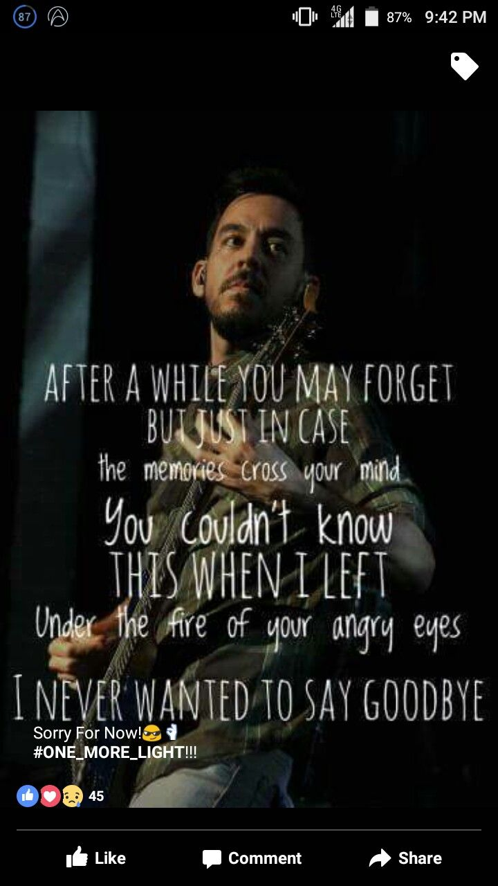 Sorry for now | Lyrics to Linkin Park songs in 2019 | Linkin park