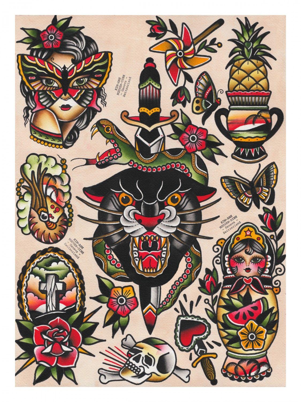 Panther Flash Sheet Old School Tattoo Designs Traditional Tattoo Art Traditional Tattoo