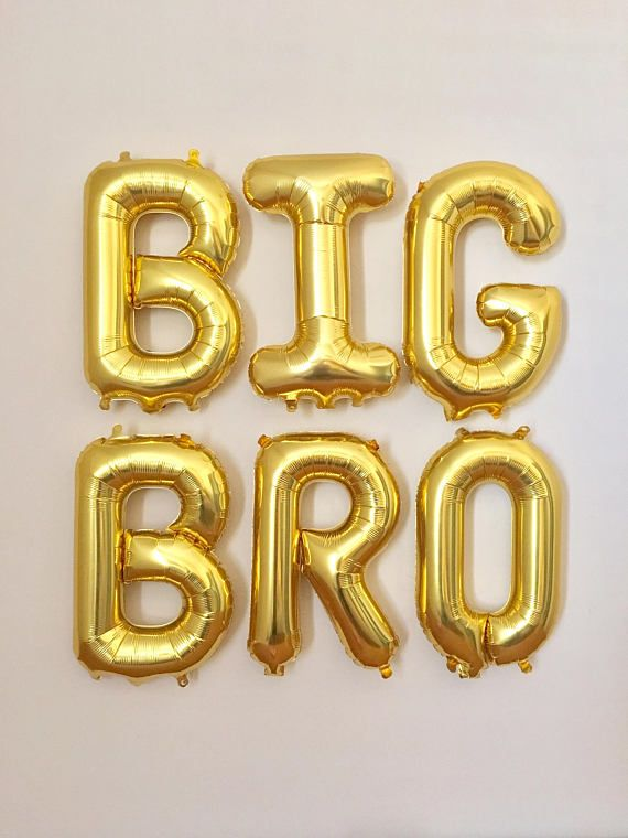 big bro gold letter balloons bis bro reveal party baby