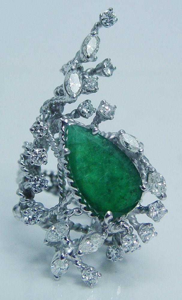 Barbara B Anton Platinum Emerald Diamond Huge Cocktail Ring Designer Vintage Jewelry