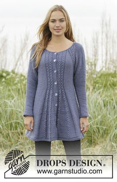 Lobelia jacket with raglan and cables by DROPS Design Free knitting Pattern