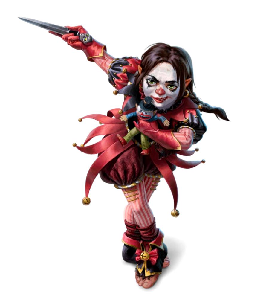 Female Halfling Evil Clown Warpriest Cult Leader Of Thamir Gixx