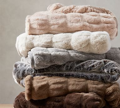 Faux Fur Ruched Throws Faux Fur Faux