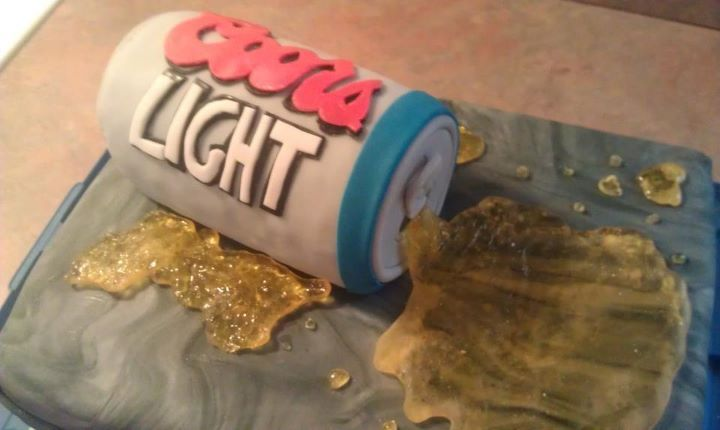 beer can cake.. we made the spilled beer out of maple flavored rock candy