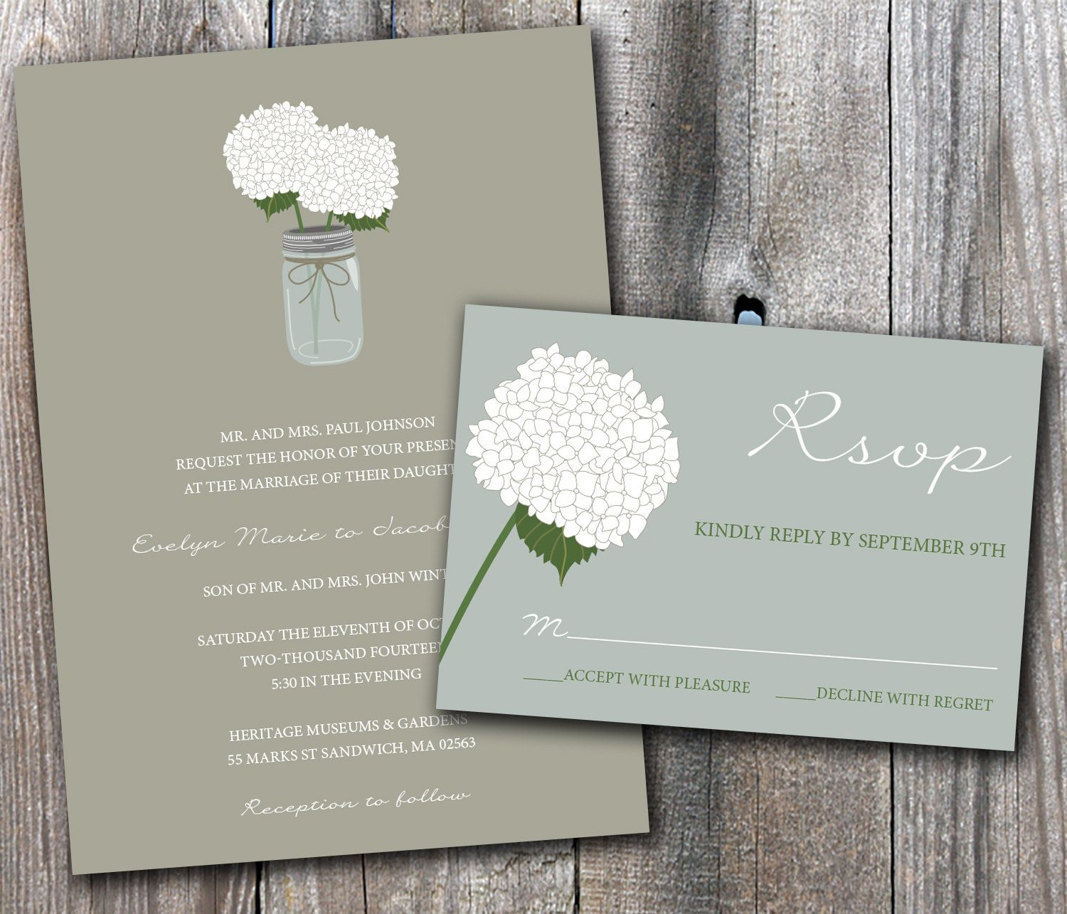 Mason Jar Hydrangeas Wedding Invitation Sample Set by DesignsbyAdj ...
